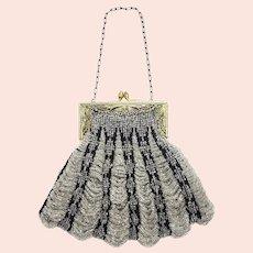 Antique 1910s Art Nouveau Silver Glass Bead Scalloped Brass Evening Handbag Purse AS-IS