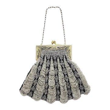 Antique 1910s Art Nouveau Silver Glass Bead and Black Fabric Scalloped Brass Evening Flapper Handbag Purse AS-IS