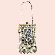 Antique 1920s WHITING & DAVIS Elsah Art Deco Enamel Mesh Purse Evening Handbag