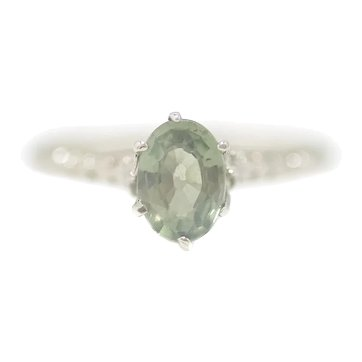 Antique 1910s Edwardian Natural Green Sapphire Oval Cut and 14K White Gold Solitaire Ring Size 6.25