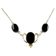 """Vintage 1950s VAN DELL Black Onyx and Gold Filled Choker 16.5"""" Necklace"""
