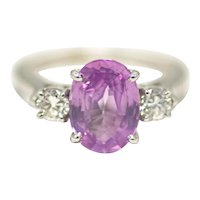 GIA Certified Vintage 1960s Ceylon Pink Sapphire, Diamond, 14K White Gold Engagement Ring 6.5