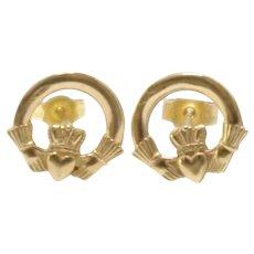 Vintage 1980s Irish Claddagh 9K Yellow Gold Small Stud Pierced Earrings