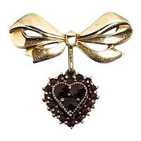 Vintage 1940s LAMODE Garnet and Gold Filled Heart Pin Brooch