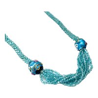 "Vintage 1920s Art Deco Turquoise Seed Bead Venetian Wedding Cake Flapper Long 42"" Necklace"