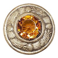 Vintage 1970s Celtic Orange Glass and Scottish Thistle Silver Plate Circle Brooch
