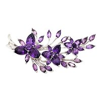 Vintage 1990s Amethyst and Silver Floral Spray Pin Brooch