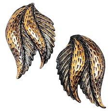 Vintage 1960s Mid Century Modern Modernist Leaf Copper Clip On Earrings