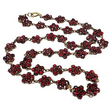 "Antique 1890s Late Victorian Bohemian Garnet and Vermeil Flower Cluster 16.5"" Necklace"