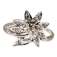 Vintage 1940s BLUEBIRD Retro Art Deco Diamond and 14K White Gold Poinsettia Flower Ring Size 6.5