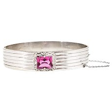 "Vintage 1920s Art Deco Pink Glass and Silver Plate Bangle 7"" Bracelet"