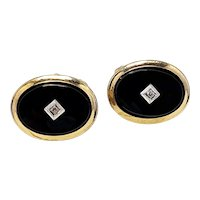 Vintage 1950s ANSON Onyx, Diamond, and 12K Gold Filled Art Deco Styled Cufflinks