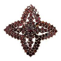 Vintage 1950s GRANAT TURNOV Rose Cut Bohemian Garnet and Vermeil Cluster Large Star Pin Brooch