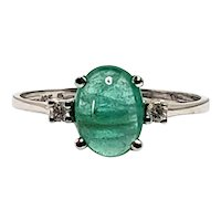Vintage 1960s Emerald Cabochon, Diamond, and 10K White Gold Ring Size 7