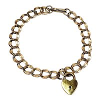 "Vintage 1940s L.G. BALFOUR Gold-Filled Heart Lock Chain 7.5"" Bracelet"