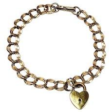 "Vintage 1940s L.G. BALFOUR Gold-Filled Heart Lock Chain 7.5"" Bracelet"