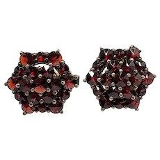 Antique 1910s Rose Cut Bohemian Garnet and Gilt Cluster Pierced Stud Earrings