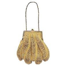 Antique 1910s Edwardian Gold Beaded and Brass Fringe Handbag Purse