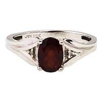 Vintage 1960s JSN Pyrope Garnet, Diamond, and 10K White Gold Ring Size 5.75