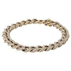 "Vintage 2000s Exquisite 3.63 Carat Diamond Encrusted 14K Yellow Gold Curb Chain 6.5"" Bracelet"