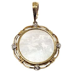 Vintage ELIZABETH LOCKE 1990s Mother of Pearl Chinese Gaming Counter, Diamond, and 14K Yellow Gold Intaglio Pendant
