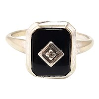 Vintage 1960s PSCO Art Deco Revival Black Onyx, Diamond, 10K White Gold Ring Size 6.5