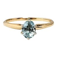 Vintage 1980s 0.57-Carat Aquamarine and 14K Yellow Gold Solitaire Ring Size 6.5