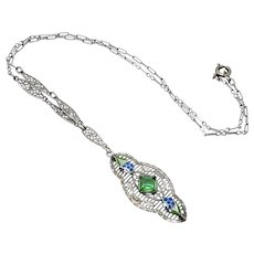 """Antique 1920s Art Deco Sterling Silver, Glass, and Enamel Filigree Flower Floral Choker 16.5"""" Necklace"""