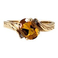 Vintage 1970s MAGIC GLO Citrine, Diamond, 10K Yellow Gold Ring Size 7