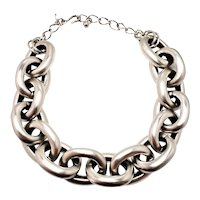 "Vintage 2000s KENNETH JAY LANE Large Jumbo Chunky Cable Chain Silver Plate Statement 18"" Necklace"