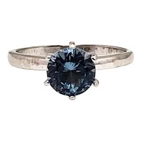 Vintage 1960s 1.59-Carat Lab Created Blue Spinel and 10K White Gold Solitaire Ring Size 6.75
