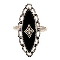 Vintage 1960s Marquise Black Onyx, Diamond, and 10K White Gold Ring Size 7.25