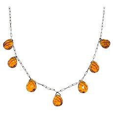 "Vintage 1930s Art Deco Orange Briolette Glass and Brass Choker 15.5"" Necklace"