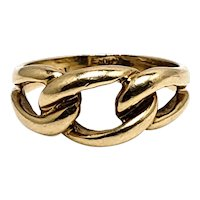 Vintage 1980s 10K Yellow Gold Knot Link Band Ring Size 5.75