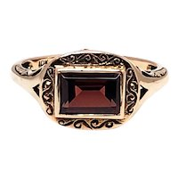 Vintage 1990s Red Garnet and 10K Yellow Gold East-West Ring Size 5.75