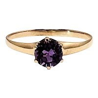 Antique Edwardian 1910s Round Cut Amethyst and 10K Yellow Gold Solitaire Ring Size 7
