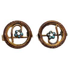 Antique 1900s Edwardian Blue Flower Enamel and Gold Filled Metal Lingerie Pins