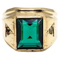 Vintage 1960s VARGAS Green Glass, Rhinestone, and 10K Yellow Gold Filled Metal Unisex Ring Size 7
