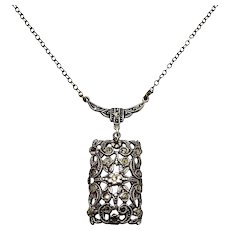 """Antique 1920s Art Deco Sterling Silver and Marcasite Floral Flower Choker 16"""" Necklace"""