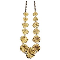 """Vintage 1940s TAYLORD Yellow Gold Filled Leaf Choker 16"""" Necklace"""