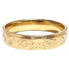 """Vintage 1930s Victorian Revival Foliate Yellow Gold Filled Hinged Bangle 7.25"""" Bracelet"""