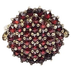 Vintage 1960s GRANAT TURNOV Bohemian Garnet Cluster and Gold Wash Ring Size 5