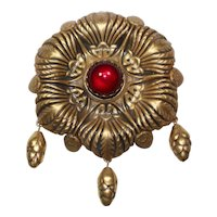 Joseff Red Cabochon Pin with Acorns