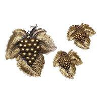 Joseff Leaf Pin and Earring Set