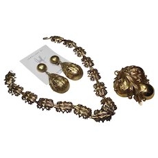 Joseff Pear Necklace/Pin and Earrings Set
