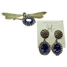 Joseff Dragonfly Pin and Earring Set
