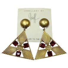 Joseff Triangle Art-Deco Styled Earrings