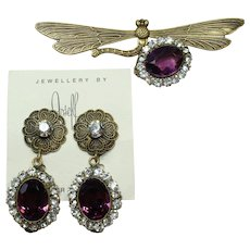 Joseff Purple Dragonfly Pin and Earring Set