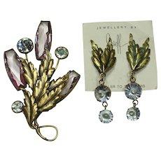 Joseff Lavender Pin and Earring Set
