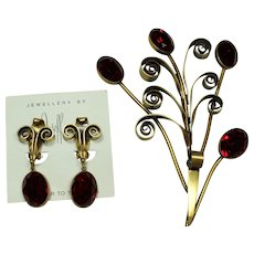Joseff Red Stone Pin and Earring Set